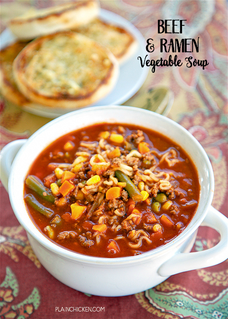 Beef And Ramen Vegetable Soup Only 5 Ingredients And Ready In Under 20 Minutes Ground Beef V 8 Vegetable Juice Onion Soup Mix Beef Ramen Noodles And
