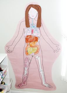 "Tessa's completed ""My Body"" body. We attached some pieces with brads so we could move them to reveal the organs underneath."