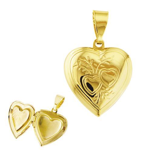 pingente coração dourado semi joia
