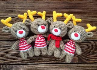 Рождественкие олени амигуруми крючком