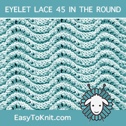Old Shale Variation Eyelet Lace, easy to knit in the round