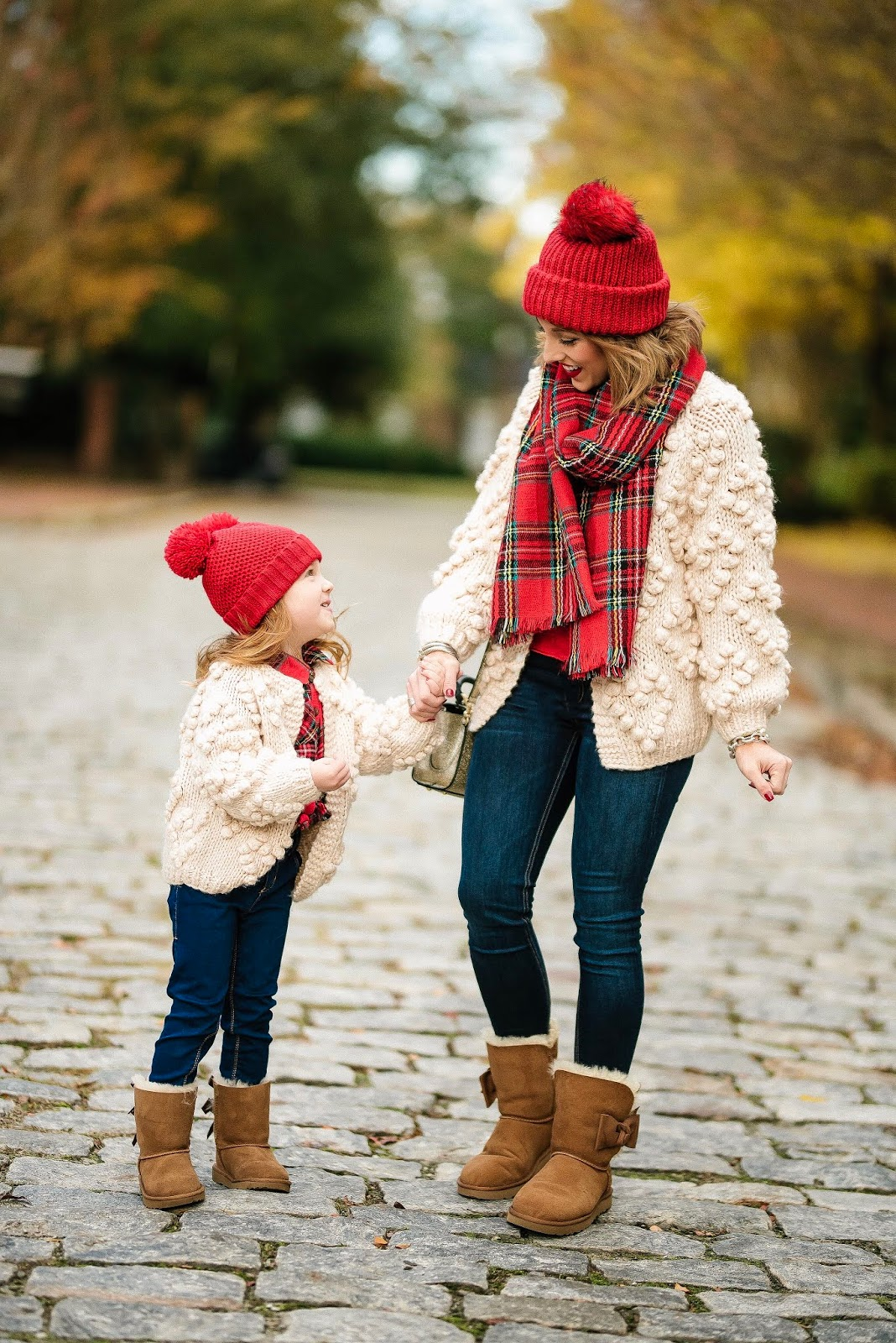 Mommy & Me in Heart Cardigans & Plaid - Something Delightful Blog