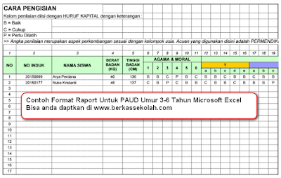 contoh format raport microsoft excel Paud