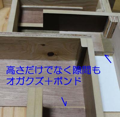 バックロードホーンスピーカ自作、製作の注意点-オガクズと木工用ボンドで隙間を埋める方法