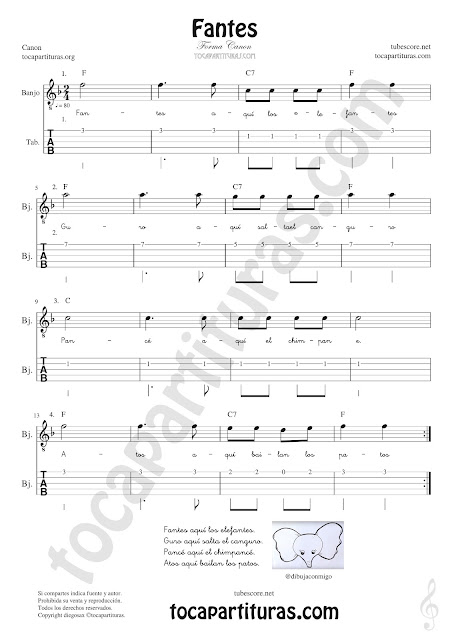 Banjo Tablatura y Partitura de Fantes Punteo Tablature Sheet Music for Banjo Tabs Music Scores