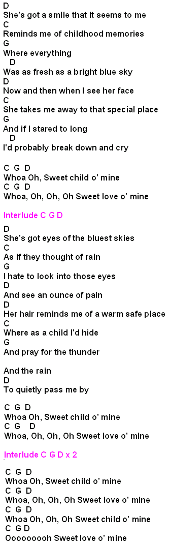 Download Lagu Sweet Child O Mine : download, sweet, child, Sweet, Child, Chords, FamilyScopes