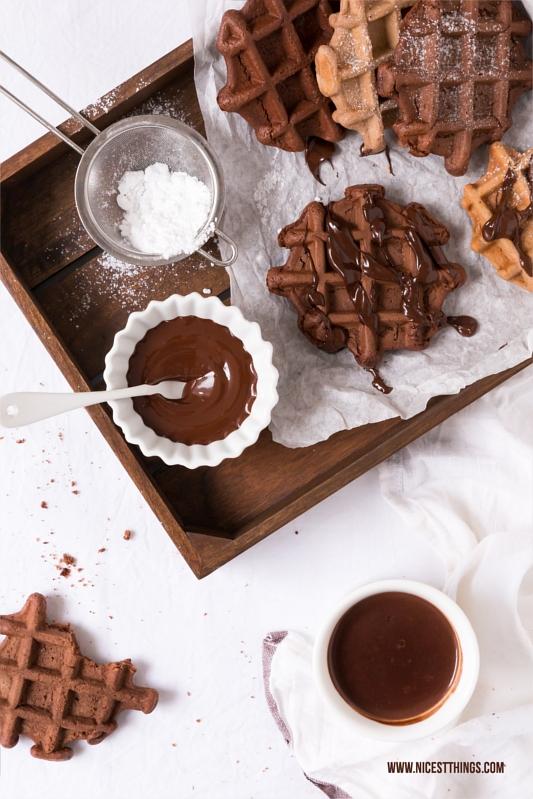 Schokoladen Waffeln mit Kakao