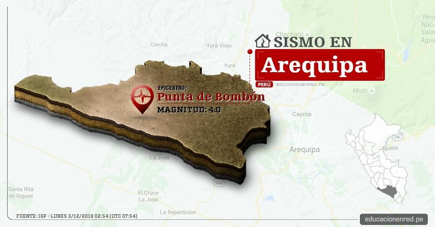 Temblor en Arequipa de Magnitud 4.0 (Hoy Lunes 3 Diciembre 2018) Sismo Epicentro Punta de Bombón - Islay - IGP - www.igp.gob.pe