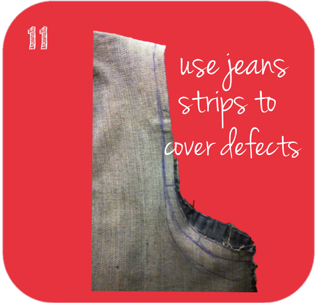 use jeans strips to cover defects