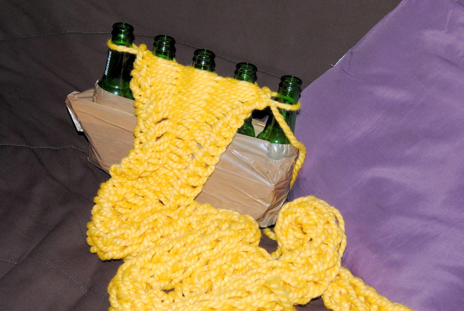 finger knitting avec bouteille de bière
