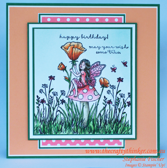 Stampin Up, #thecraftythinker, Fairy Celebration, In The Meadow, Watercolouring, Stampin Up Australia Demonstrator
