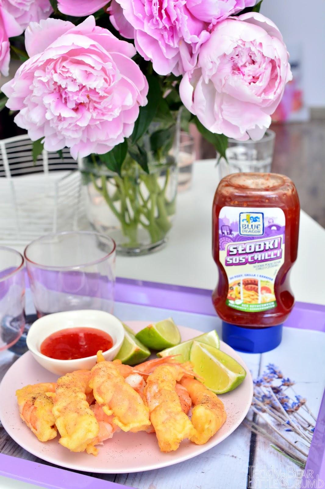 Sos słodki Sweet Chilli Blue Dragon Fish Sauce Sos Rybny Light Soy Souce Sos Sojowy Jasny Oyster Souce Sos Ostrygowy Blue Dragon krewetki w tempurze jak zrobić tempurę