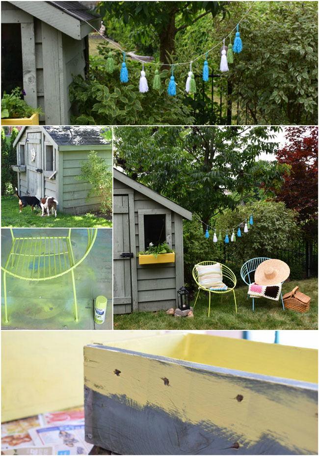A Quick Backyard Seating Area Refresh! - with a fun, easy yarn tassel garland and sunny re-painted window boxes #diy #crafts #decor #outdoors #summer