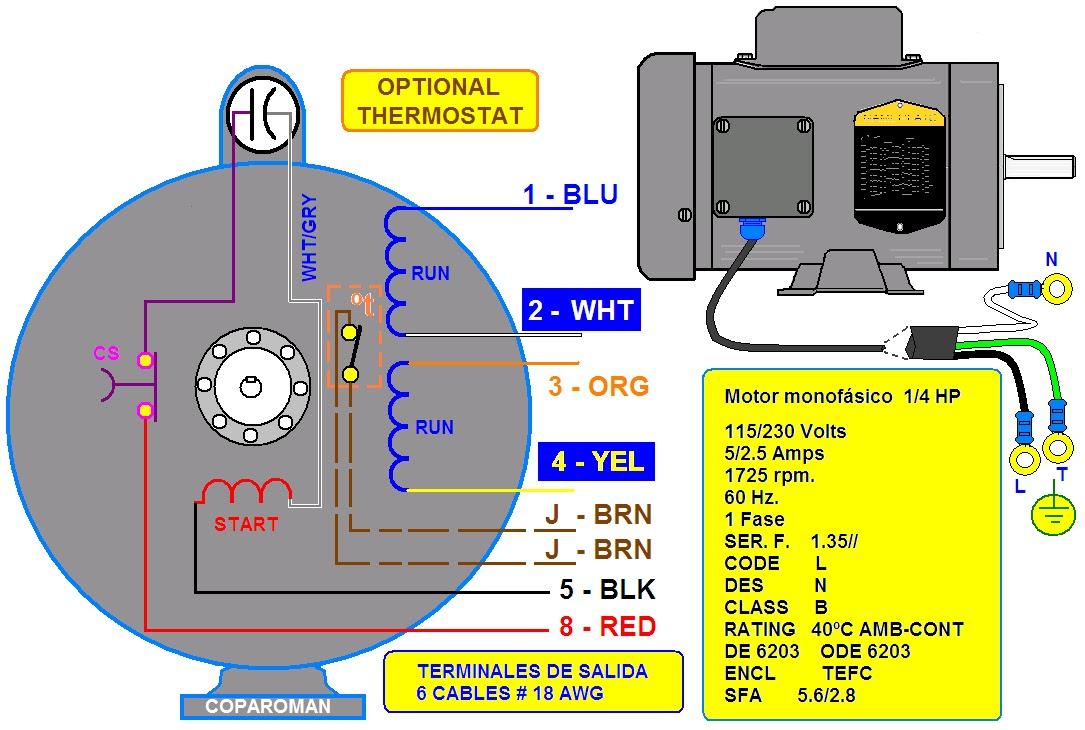 coparoman: Diagramas de motores eléctricos monofásicos industriales y la placa de datos