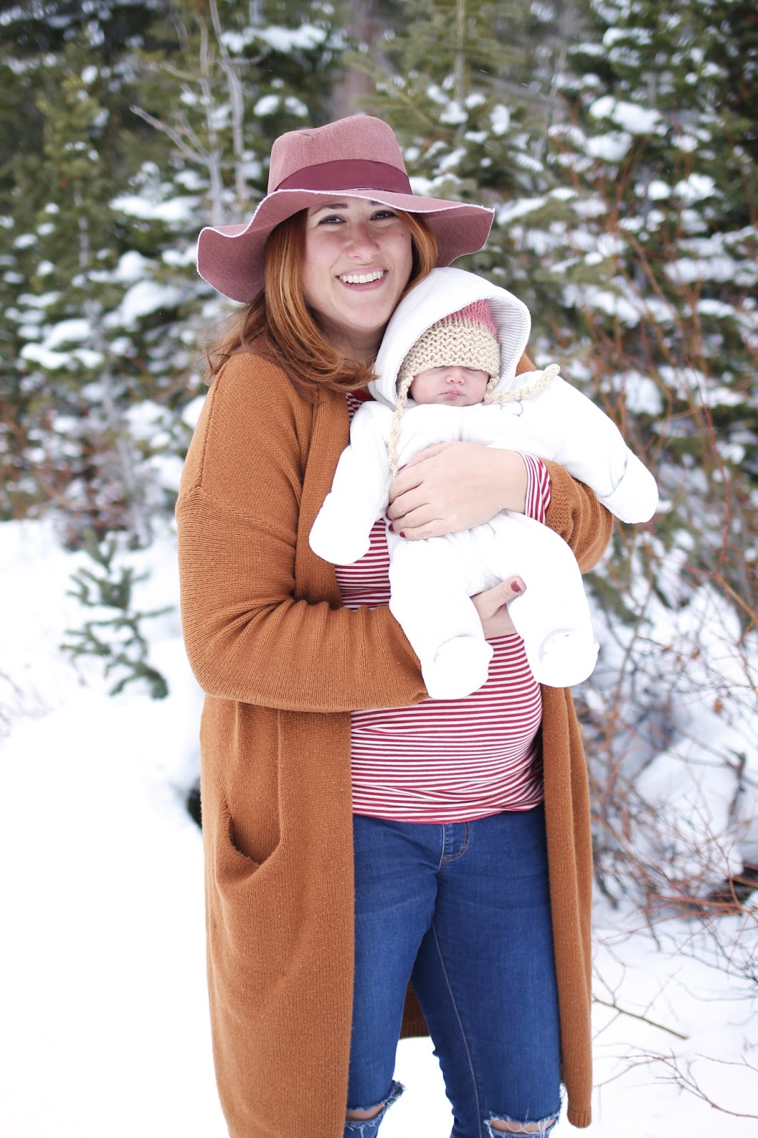 newborn, snow, new mom outfit, long sweater cardigan