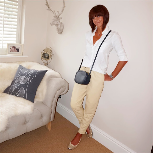my midlife fashion, baukjen coco shirt, iris and ink leather shoulder bag, marks and spencer leather trousers, french sole sparkly ballet pumps