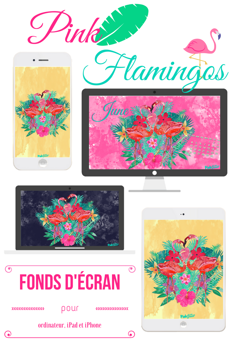 fond d'écran june juin ordinateur ipad iphone smartphone pink flamingos