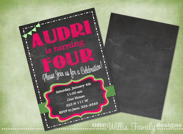 Girl Chalkboard Birthday printable invite