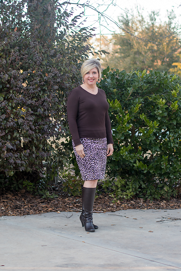 leopard print pencil skirt, fall outfit, boots