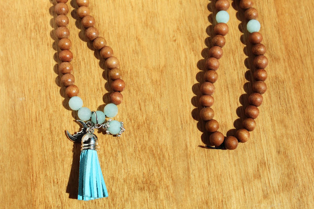 Mala Necklace, Yoga Jewelry, Tassel Necklace, Amazonite Gemstone Jewelry