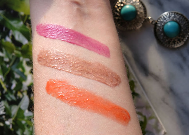 Swatches of Parlo Cosmetics's Lip Polishes in Bahama Mama, Glow, and Prove It