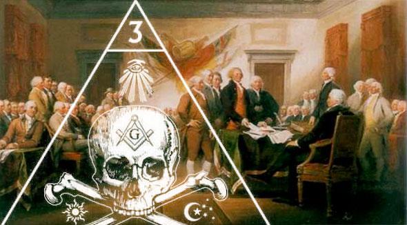 litografía de la fundación de los estados unidos con símbolos ocultistas de la masonería y el ojo que todo lo ve