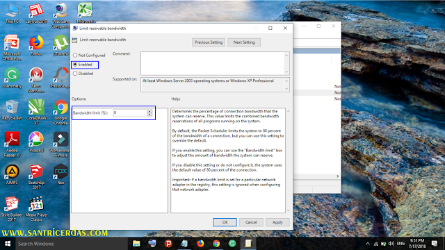 Double Klik pada menu Limit Reservable Bandwidth