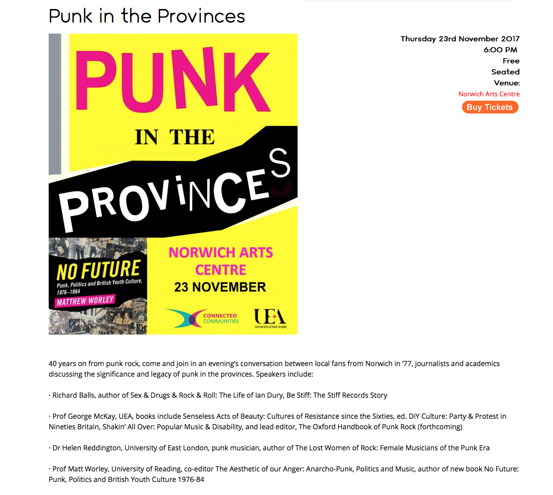 Helen McCookerybook: Punk In The Provinces, Norwich, Thursday 23rd ...
