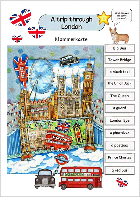 Klammerkarten Europa für Kinder LONDON