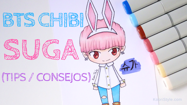Koori Style, KooriStyle, Drawing, Speed Drawing, Copic, Staedtler, Markers, Marcadores, Rotuladores, BTS, Suga, Chibi, Yoongi, Dibujo, Tips, Consejos, Advice, Avisos, Cute ,Kawaii