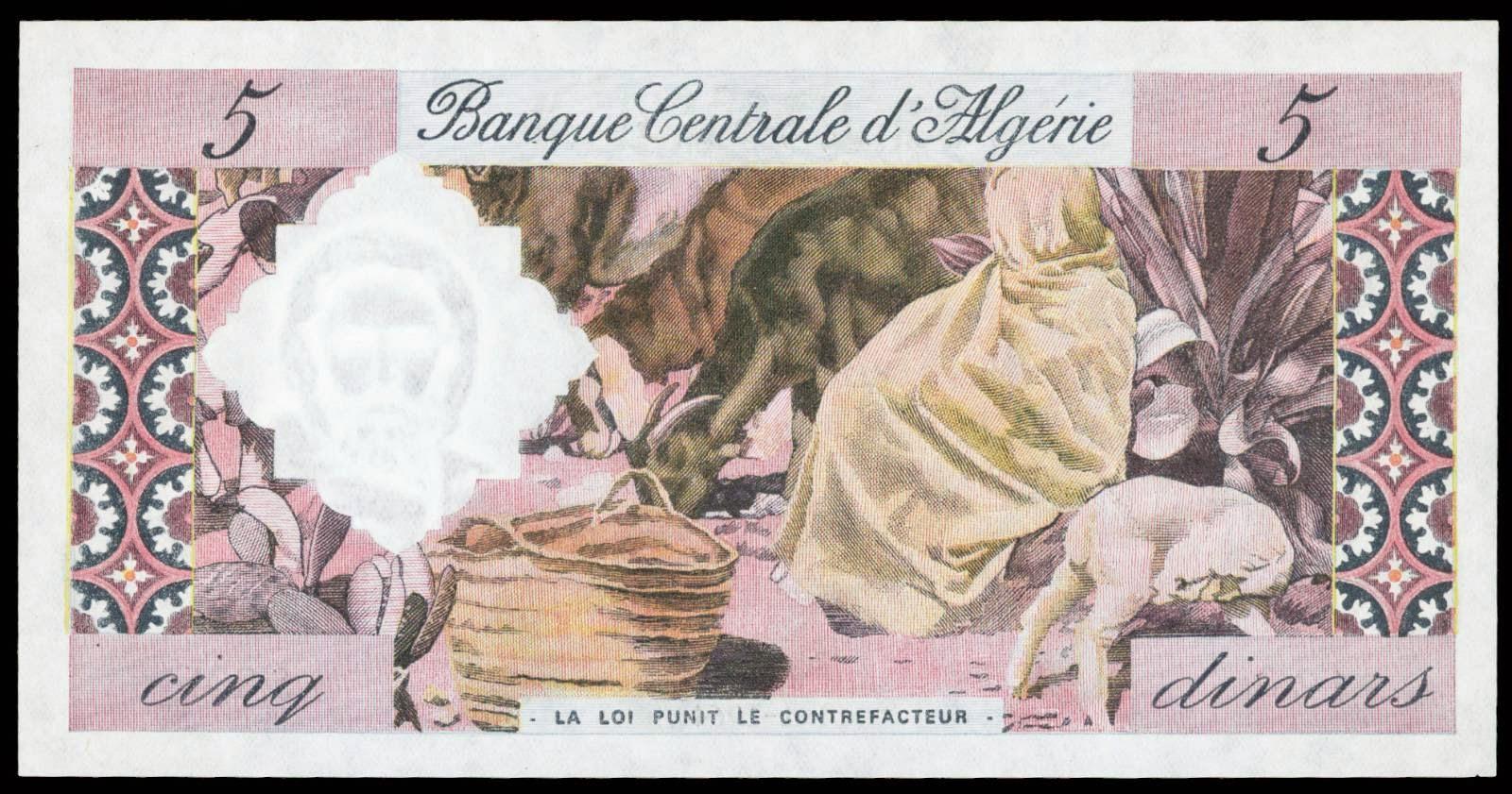 Algeria money 5 Dinars banknote 1964