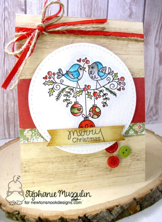 Bird Christmas Card by Stephanie Muzzulin | Holiday Tweets Stamp Set by Newton's Nook Designs #newtonsnook