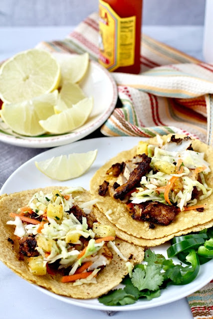 Skillet Charred Cod Tacos with Roasted Pineapple Slaw