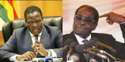 Photos of Emerson Mnangagwa and Robert Mugabe