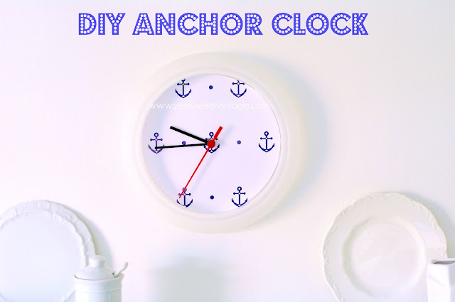 make your own nautical anchor clock with a free anchor printable