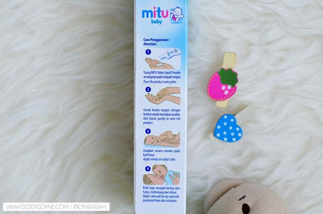 cara penggunaan Mitu Baby Liquid Powder