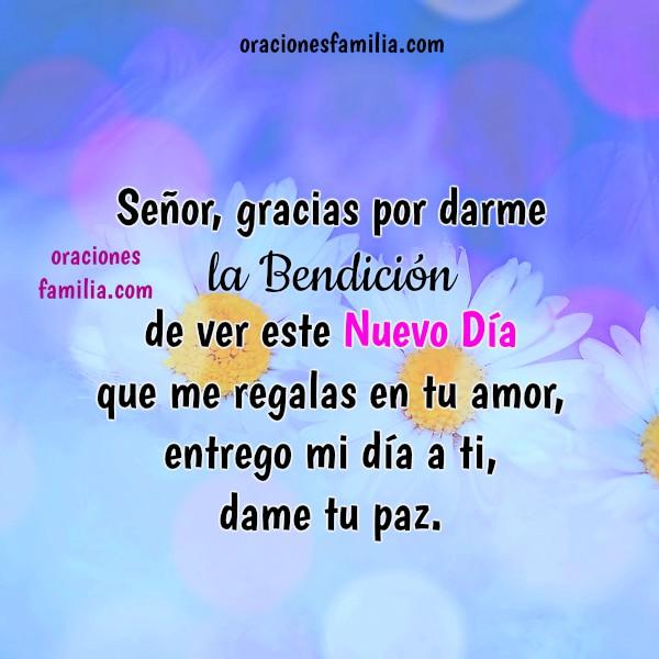 Oración cristiana de buenos días, oraciones de la mañana, frases con corta plegaria, Señor, ayúdame, Imagen con oraciones por Mery Bracho.