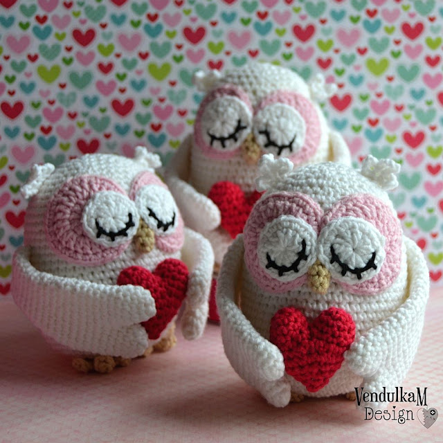 Crochet Valentines Owl - crochet pattern by VendulkaM