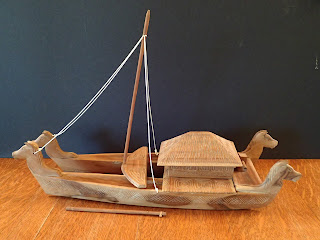 Model of a double hull voyaging canoe from Bora Bora
