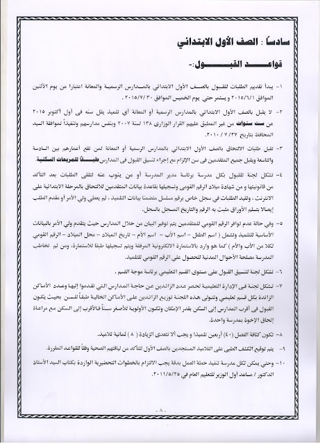 نشرة قواعد القبول بالصف الاول الابتدائي بكل مدارس محافظة القاهرة الرسمية عام ولغات للعام الدراسي 2015/2016 8%2B001