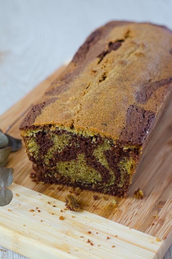 Cake marbré thé matcha et chocolat