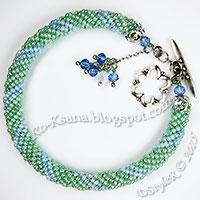 """Spring Coolness"" Twisted Tubular Herringbone / Ndebele Beaded bracelet on memory-wire  Браслет ""Прохлада весны"" спиральный жгут ндебеле из бисера на мемори-проволоке"