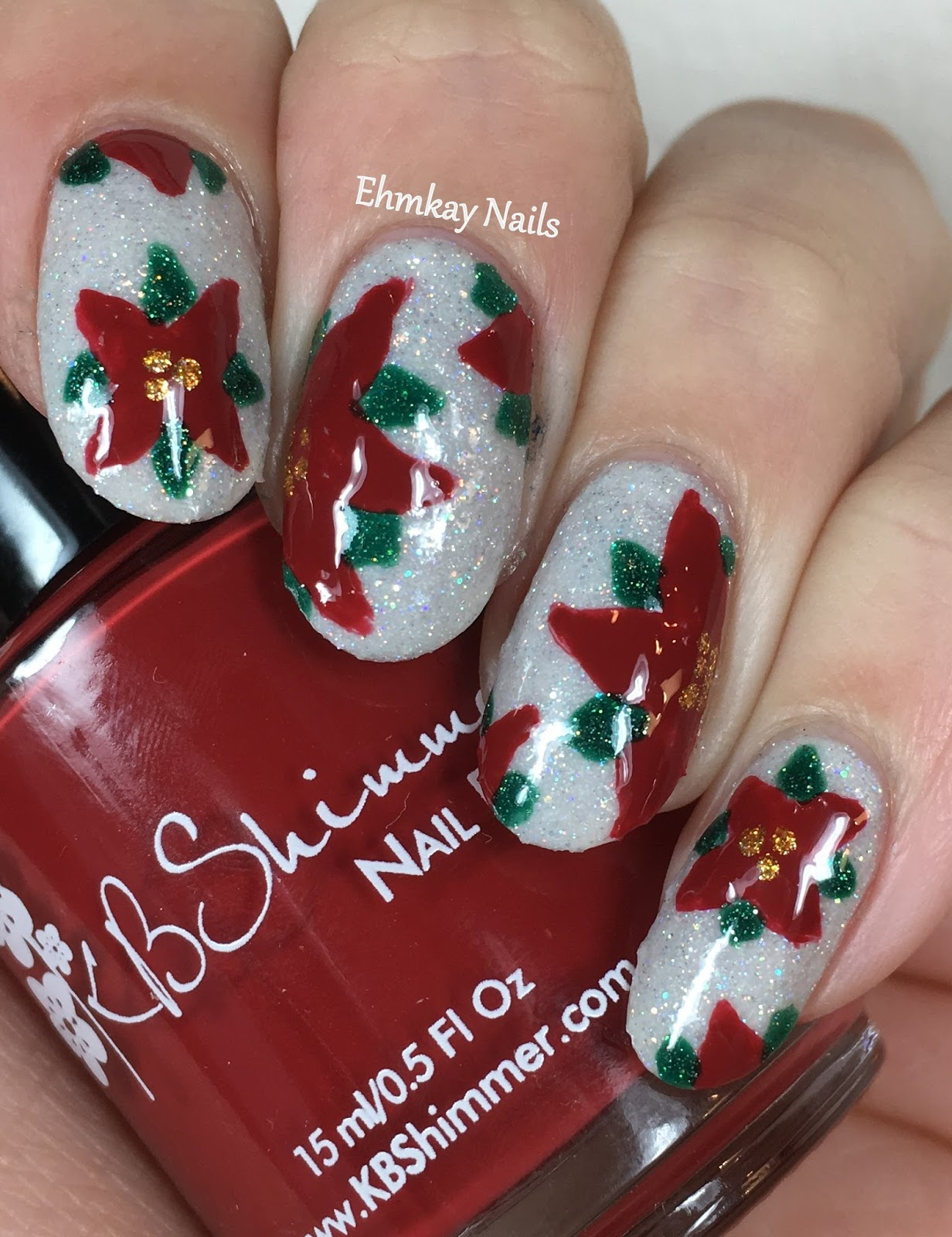 Ehmkay Nails Happy New Year S Eve Nail Art Stamping: Ehmkay Nails: Snowy Poinsettias With KBShimmer Holiday 2016