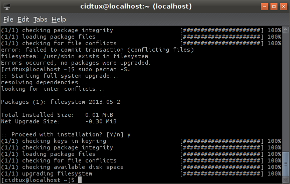 /bin, /sbin, /usr/sbin exists in filesystem when upgrading archlinux (2013/6/3)