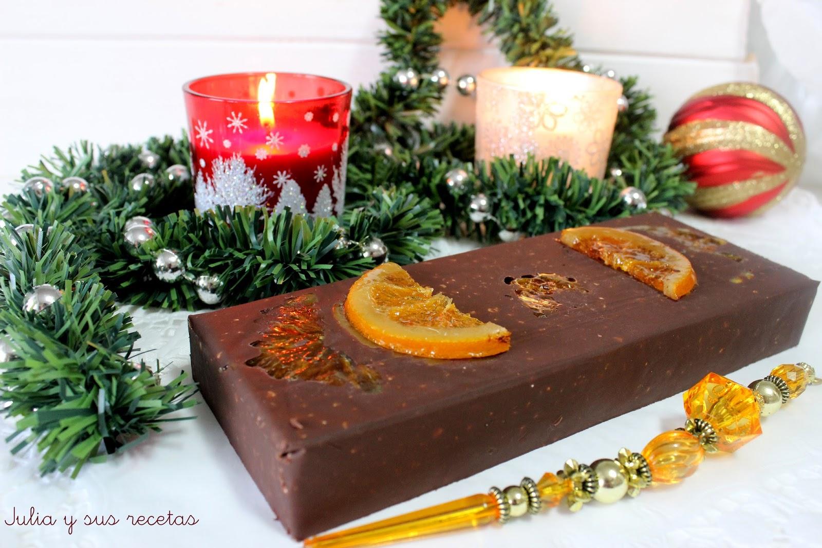 Turrón de chocolate y naranja confitada. Julia y sus recetas