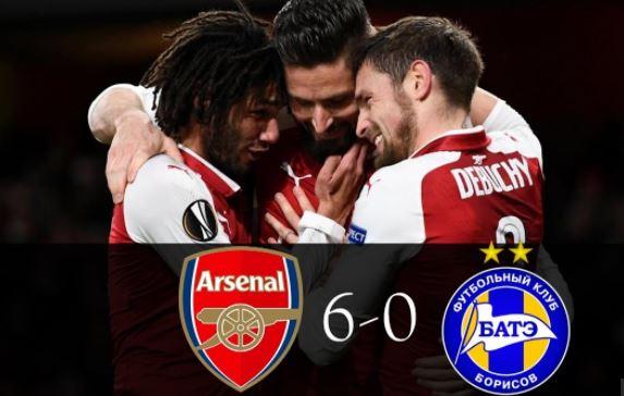 Arsenal 6 vs 0 BATE Borisov (Watch Highlights video)