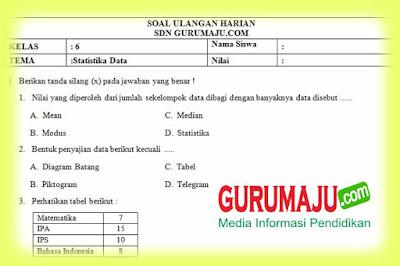 Soal UH / PH MTK Kelas 6 Statistika Data Kurikulum 2013 Revisi 2018