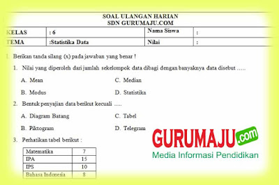 Jawaban dan pembahasan soal statistika sudjana bab 4. Soal Uh Ph Mtk Kelas 6 Statistika Data Kurikulum 2013 Revisi 2018 Guru Maju