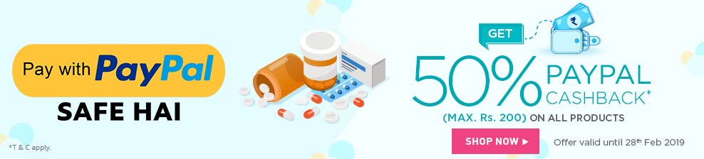 Netmeds PayPal Offer: Get 50% Cashback on All Products using PayPal