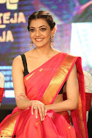 Kajal Aggarwal in Red Saree Sleeveless Black Blouse Choli at Santosham awards 2017 curtain raiser press meet 02.08.2017 048.JPG